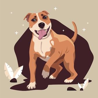 Pitbull dessiné à la main illustré