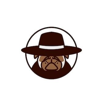 Pitbull utilisant l'illustration vectorielle de chapeau logo