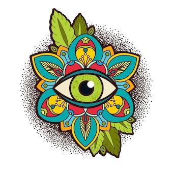 Pivoine ornementale, fleur rose avec un oeil de providence.