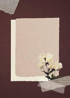 Pivoines blanches sur papier vecteur de fond texturé