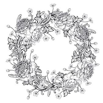 Pivoines et ornements de style baroque. couronne.