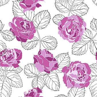 Pivoines ou roses avec croquis monochrome de feuilles