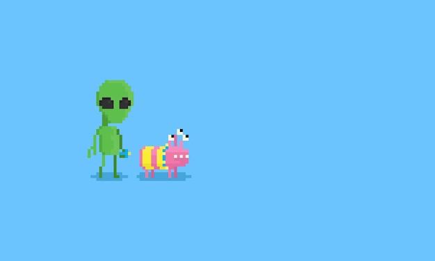 Pixel alien avec un chien spatial