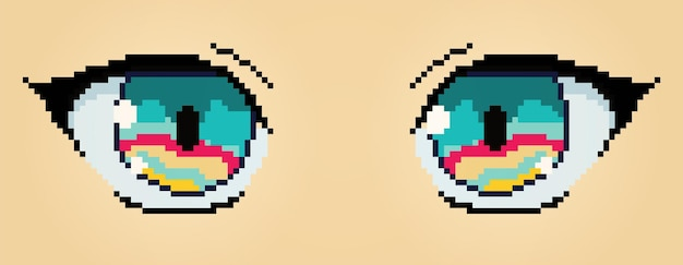 Pixel art anime yeux caractère illustration colorée