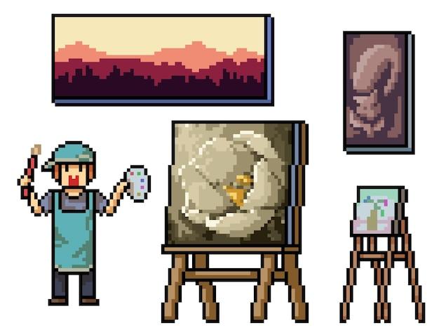 Pixel art de l'artiste peintre traditionnel