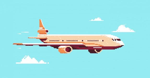 Pixel art avion avion volant dans le ciel transport aérien de passagers concept de service aérien horizontal