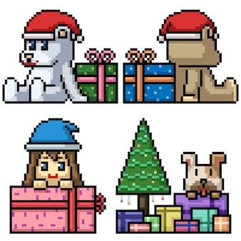 Pixel art de la boîte-cadeau présente