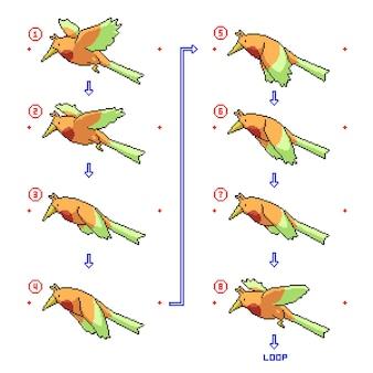 Pixel art de boucle d'animation d'oiseau volant