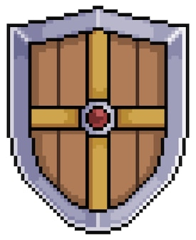 Pixel art bouclier médiéval de fer et de bois élément de jeu sur fond blanc