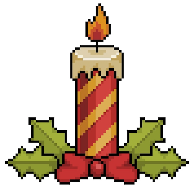Pixel art bougies de noël décoration de noël bit élément de jeu