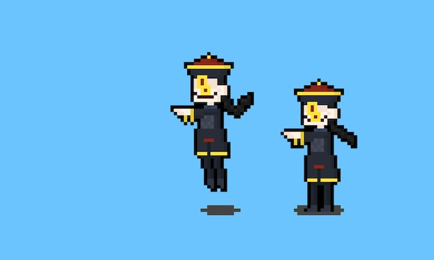 Pixel art cartoon personnages fantômes chinois.