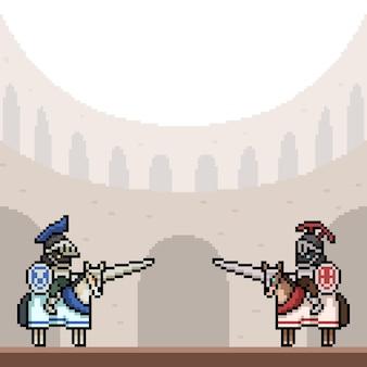 Pixel art de chevalier double arène