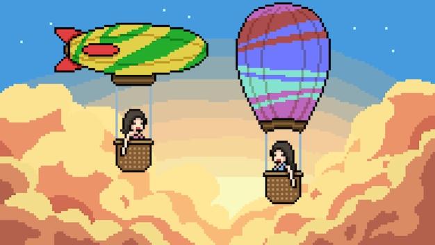 Pixel art ciel montgolfière