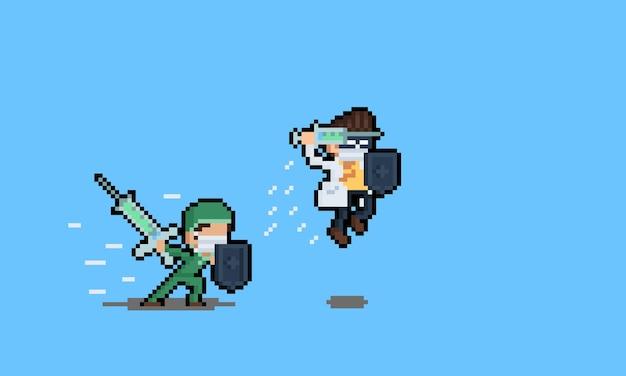Pixel art combattant des personnages de médecin avec bouclier et syrigne