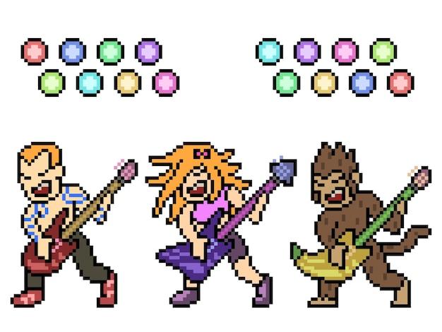 Pixel art de concert de groupe de métal