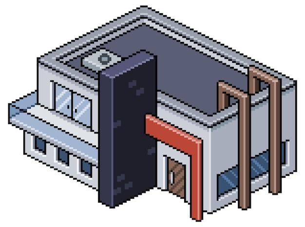 Pixel art construction de maison moderne isométrique isolée sur blanc