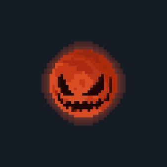 Pixel Art Dessin Animé Diable Lune Illustration Vecteur Premium