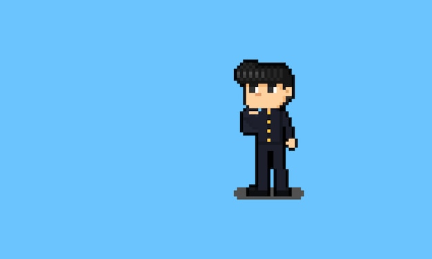 Pixel art dessin animé garçon japonais en caractère uniforme étudiant.