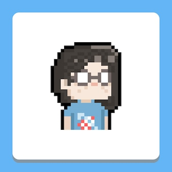 Pixel art dessin animé portrait nerd fille icône illustration.