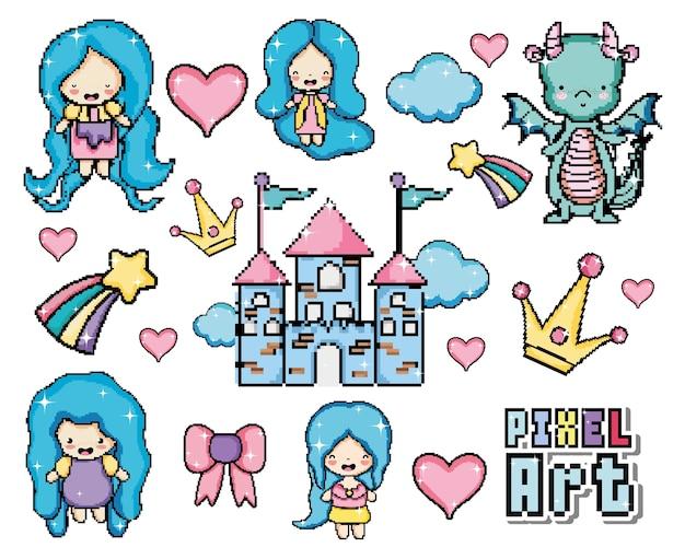 Pixel art dessins animés du monde fantastique