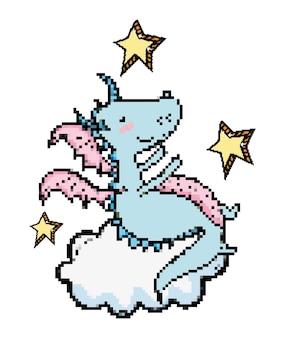 Pixel art dragon dessin animé vector illustration graphisme