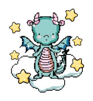 Pixel art dragon personnage