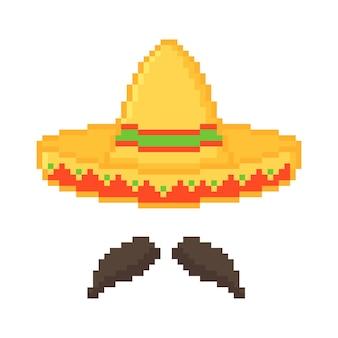 Pixel art du chapeau mexicain avec moustache