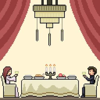 Pixel art du dîner de luxe en couple