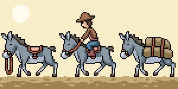 Pixel art du voyage en caravane d'ânes