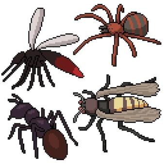 Pixel art ensemble isolé dangereux petit insecte