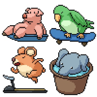 Pixel art ensemble isolé drôle animal