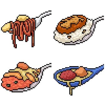 Pixel art ensemble isolé nourriture manger