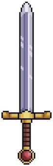 Pixel art épée médiévale bit élément de jeu sur fond blanc