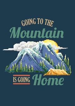 Pixel art extérieur de montagne