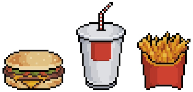 Pixel art hamburger pomme de terre et soda élément de jeu de restauration rapide bit sur fond blanc