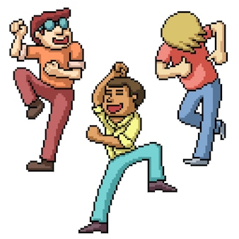 Pixel art des hommes heureux dansant