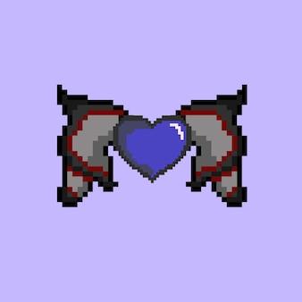 Pixel art de l'icône de l'amour avec aile de diable