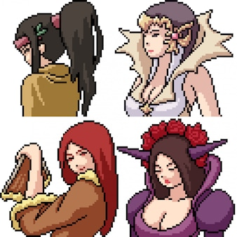 Pixel art isolé anime filles cosplay