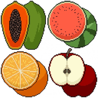 Pixel art isolé fruits coupe groupe