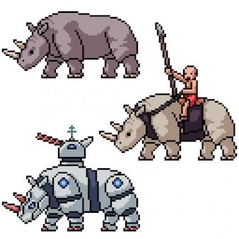 Pixel art isolé guerre rhinocéros armes