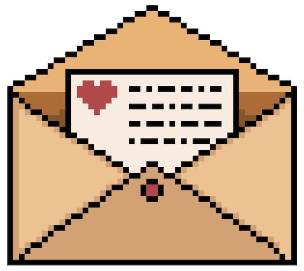 Pixel art mail lettre bit élément de jeu sur fond blanc