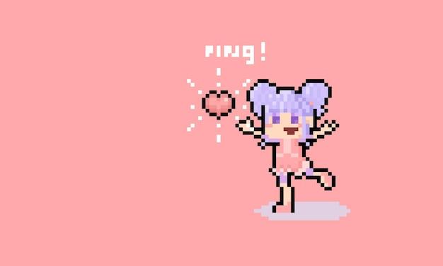 Pixel art mignon petite fille