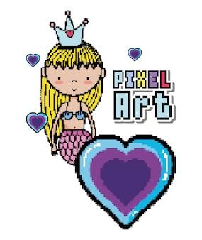Pixel art mignon princesse sirène