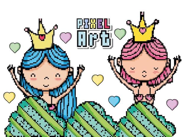 Pixel art mignonnes sirènes dessins animés
