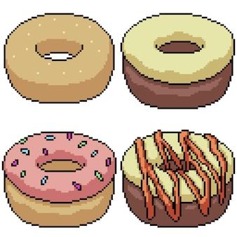 Pixel art mis isolé beignet sucré