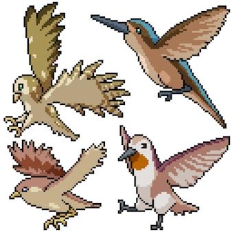 Pixel art mis isolé oiseau volant