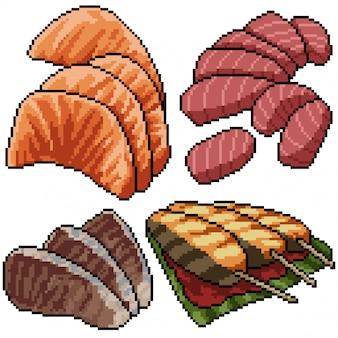 Pixel art mis sashimi poisson isolé