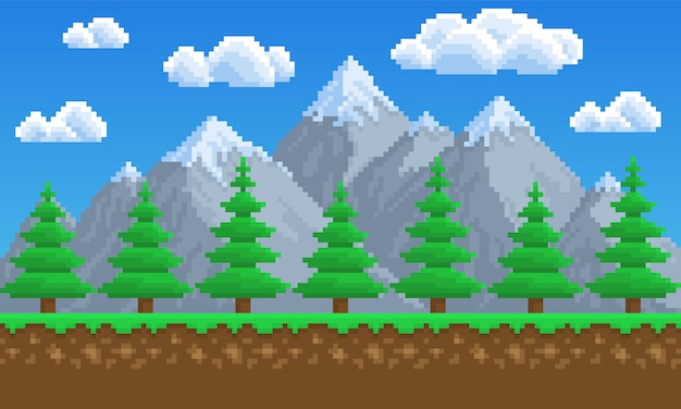 Pixel art, nature, montagnes, pins, arbre, fond de jeu. 8 bits