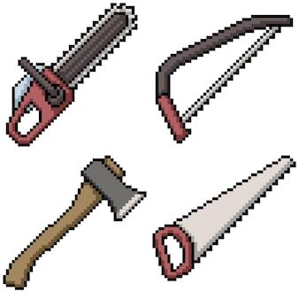 Pixel art des outils de coupe du bois