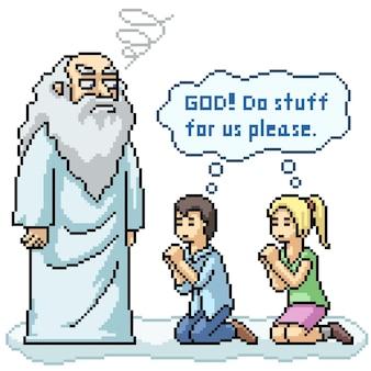 Pixel art de personnes suppliant dieu